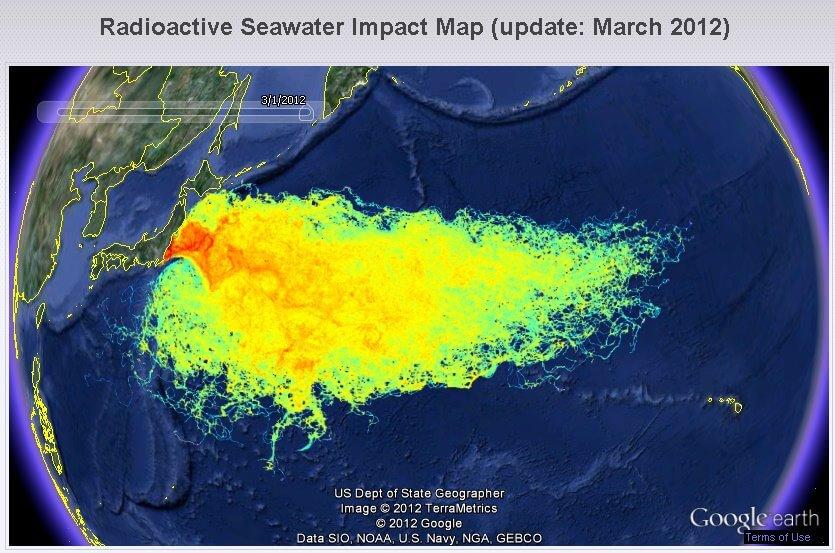 Simulation de la radioactivité déversée par la catastrophe de Fukushima