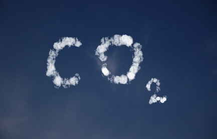 CO2 written in clouds in the sky