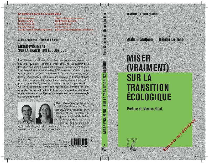 """Epreuve de couverture """"Miser (vraiment) sur la transition écologique"""""""