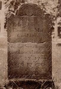 "Tombe d'adolescent américain mort de la variole en 1788 . ""Smallpox"""