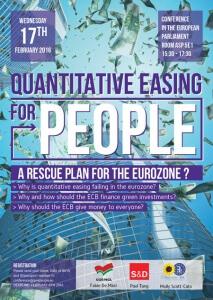 """Conférence au parlement de Bruxelles sur les alternatives au QE, par """"QE for People"""". Cliquez sur l'image pour un CR en français."""