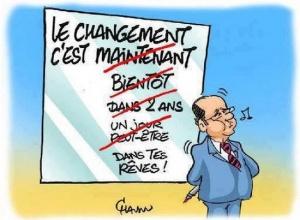 Illustration satyrique sur les promesses de campagne du gouvernement