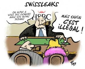 Dessin satyrique Swiss Leaks. Dessinateur : Faro