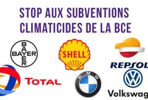 """Bannière de campagne de la coalition """"QE pour le peuple"""" : stop aux subventions climaticides de la BCE"""