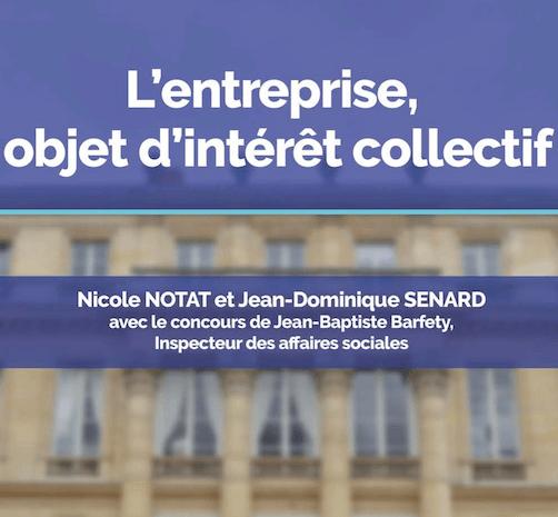 """Couverture du Rapport Sénard-Notat """"L'entreprise objet d'intérêt collectif"""""""