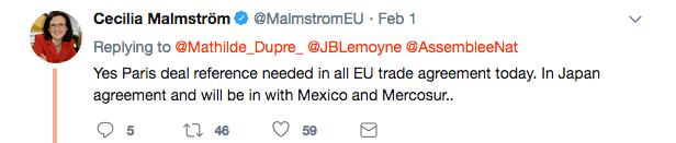 Déclaration de Cécilia Malmström sur twitter, le 1er février 2018